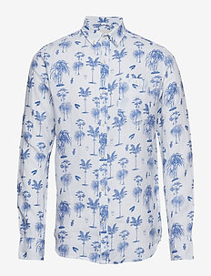 Shirt with palm print - chemises de lin - olympia blue