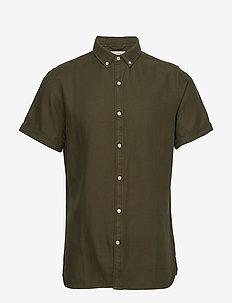 Short sleeve twill shirt/Vegan - basic skjorter - forrest night