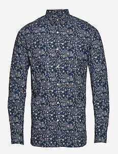 Outline flower printed shirt - GOTS - décontractées - total eclipse