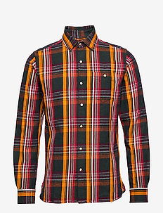 Long sleeve heavy twill checked shi - checkered shirts - total eclipse