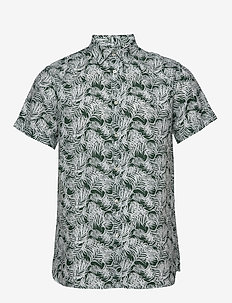 LARCH SS palm shirt - Vegan - kortermede skjorter - pineneedle