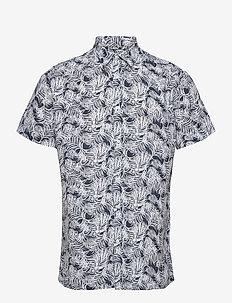 LARCH SS palm shirt - Vegan - linskjorter - total eclipse