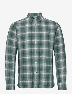 LARCH LS checked shirt - GOTS/Vegan - hørskjorter - pineneedle