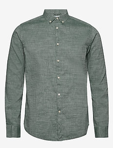 LARCH LS linen shirt - GOTS/Vegan - basic shirts - pineneedle