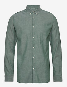 ELDER LS twill shirt - GOTS/Vegan - basic shirts - pineneedle