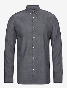 ELDER LS twill shirt - GOTS/Vegan - basic shirts - total eclipse