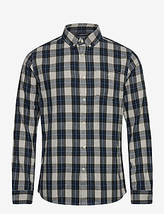 LARCH casual fit small checked flan - casual - forrest night