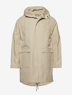 Long twill hood jacket - GOTS/Vegan - vindjakker - light feather gray