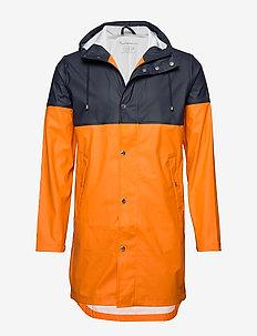 Long rain jacket /Vegan - ORANGE MELANGE