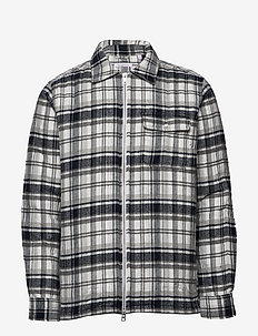 Quilted checked fannel overshirt - - DARK GREY MELANGE