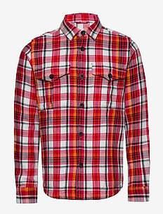 PINE LS checked overshirt - GOTS/Ve - overshirts - scarlet