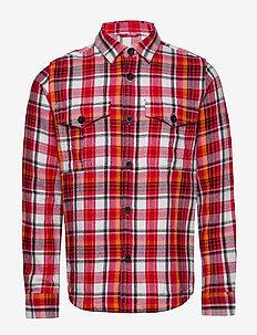 PINE LS checked overshirt - GOTS/Ve - overshirts - scarlet