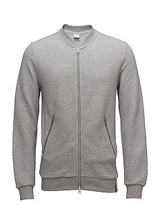 Quilted zip cardigan - GOTS - GREY MELANGE