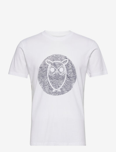 ALDER big owl lined tee - GOTS/Vega - korte mouwen - bright white