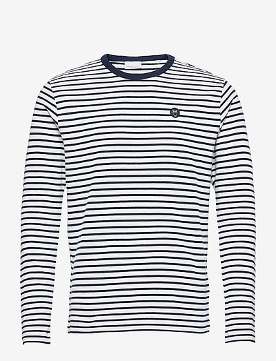 LOCUST striped LS w/badge - GOTS/Ve - långärmade t-shirts - total eclipse