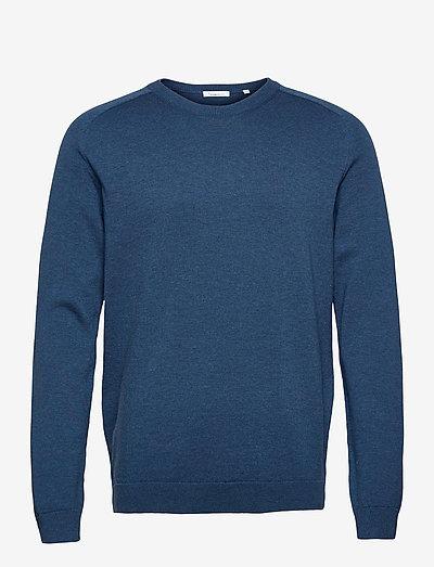 FIELD O-neck long stable cotton kni - knitted round necks - dark denim