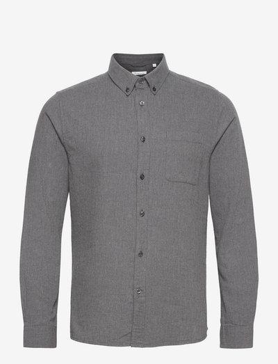 ELDER regular fit melange flannel s - chemises de lin - dark grey melange