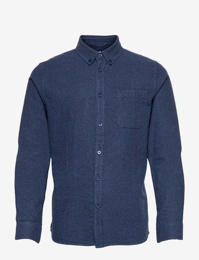 ELDER regular fit melange flannel s - chemises de lin - estate blue