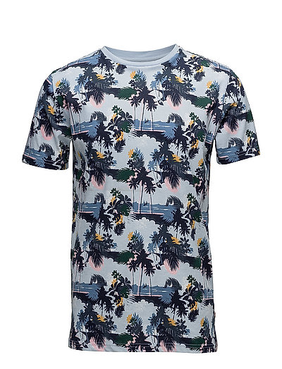 T-shirt with all over seam, palm pr - SKYWAY