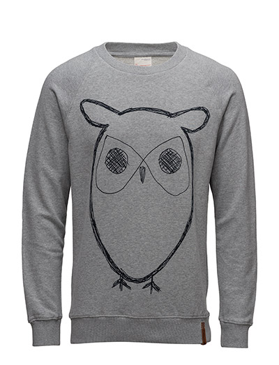 Sweat Shirt With Owl Print - GOTS/V - GREY MELANGE