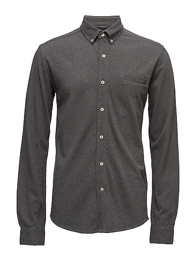 Pique Shirt Long Sleeve - GOTS - DARK GREY MELANGE
