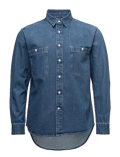 Denim Shirt W/Contrast Stitching - - VINTAGE INDIGO