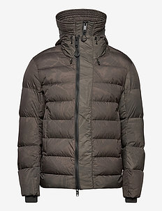 short puffer jacket - forede jakker - dark green with print