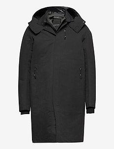 durable microfibre trench coat - parkas - black