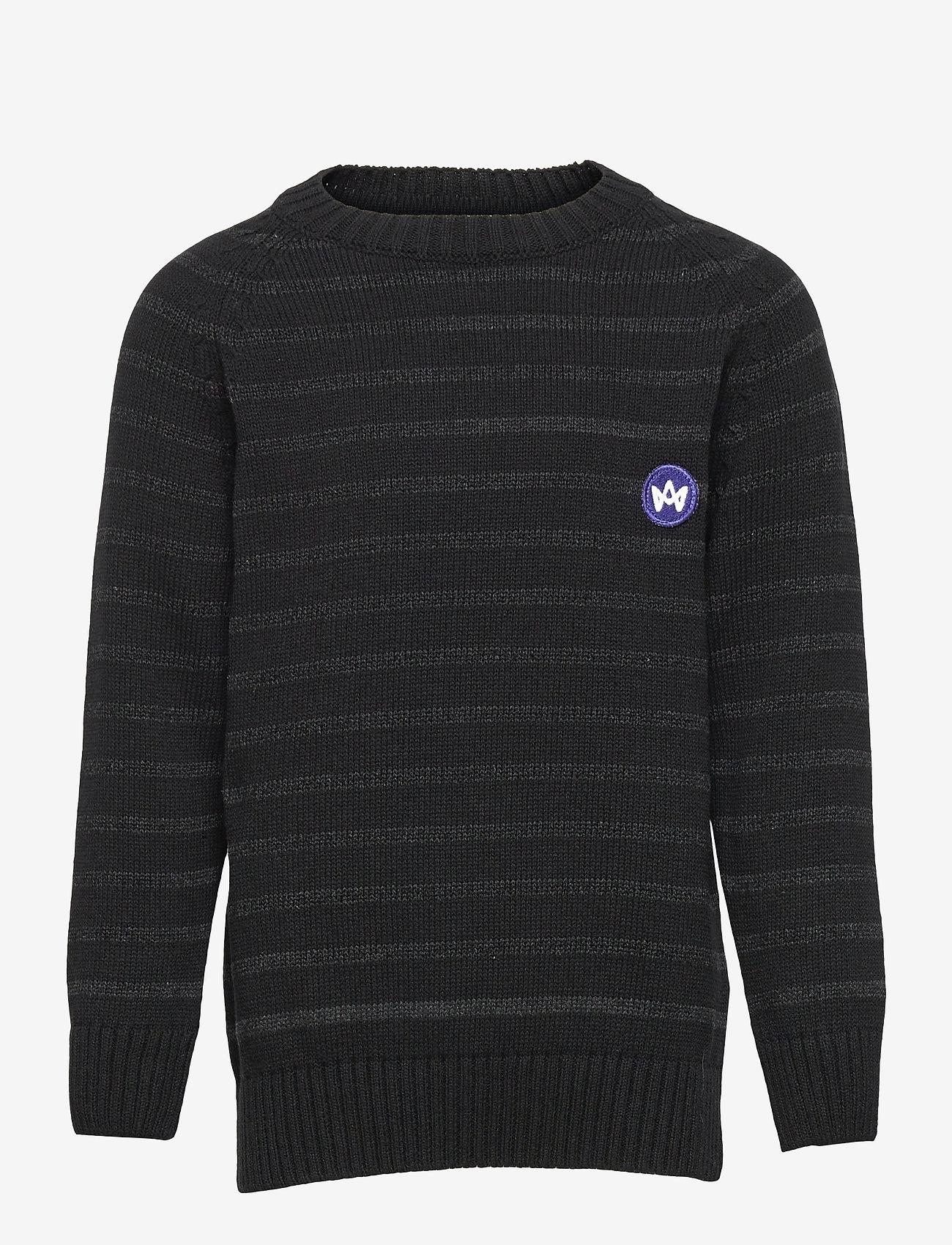 Kronstadt - Liam Crew Stripe Recycle - jumpers - black/charcoal - 0
