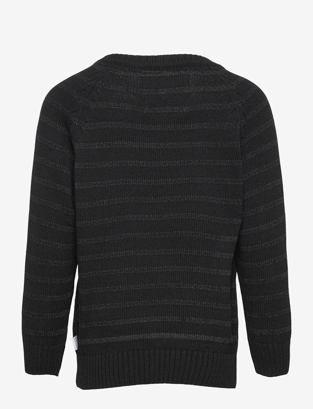 Kronstadt - Liam Crew Stripe Recycle - jumpers - black/charcoal - 1