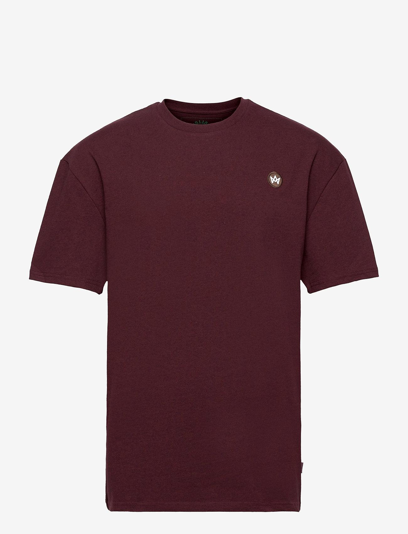 Kronstadt - Martin Recycled cotton boxfit t-shirt - basic t-shirts - sangria - 0