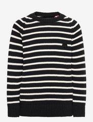 Liam Crew Stripe Recycle - BLACK / OFF WHITE
