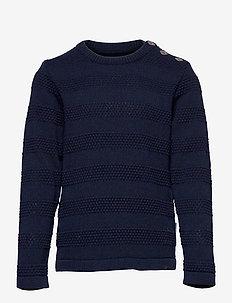 Keld Plain - knitwear - navy/red