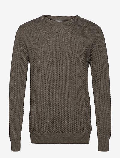 Carlo Cotton knit - tricots basiques - army mel