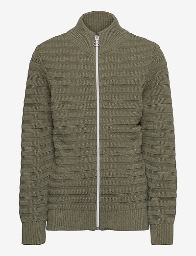 Lauge Zip Cardigan recycled knit - cardigans - army