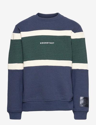 Lars Recycled colour block sweat - sweatshirts - navy