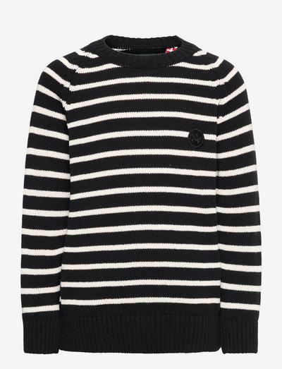Liam Crew Stripe Recycle - trøjer - black / off white