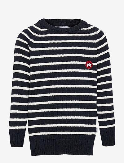 Liam Crew Stripe Recycle - trøjer - navy/white