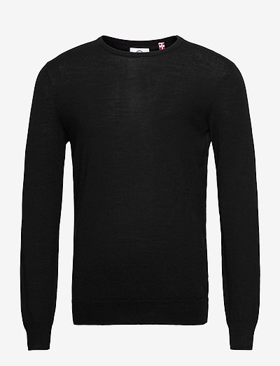 Johs Merino crew neck knit - tricots basiques - black