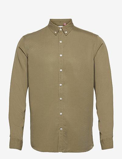 Johan Tencel shirt - koszule w kratkę - light army