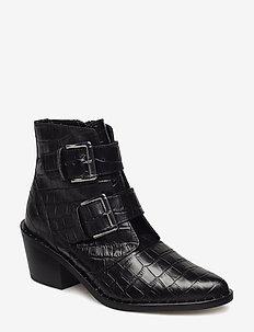 DENNY - ankelstøvletter med hæl - black