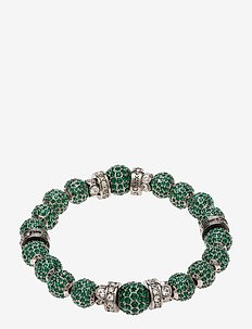 La Chance Crystal Ball Bracelet Silver - dainty - dark green