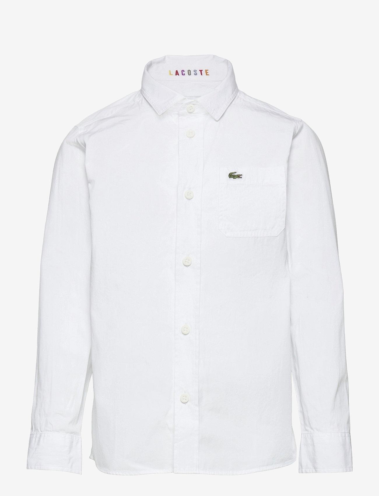 Lacoste - Children L/S woven shirt - shirts - white - 0