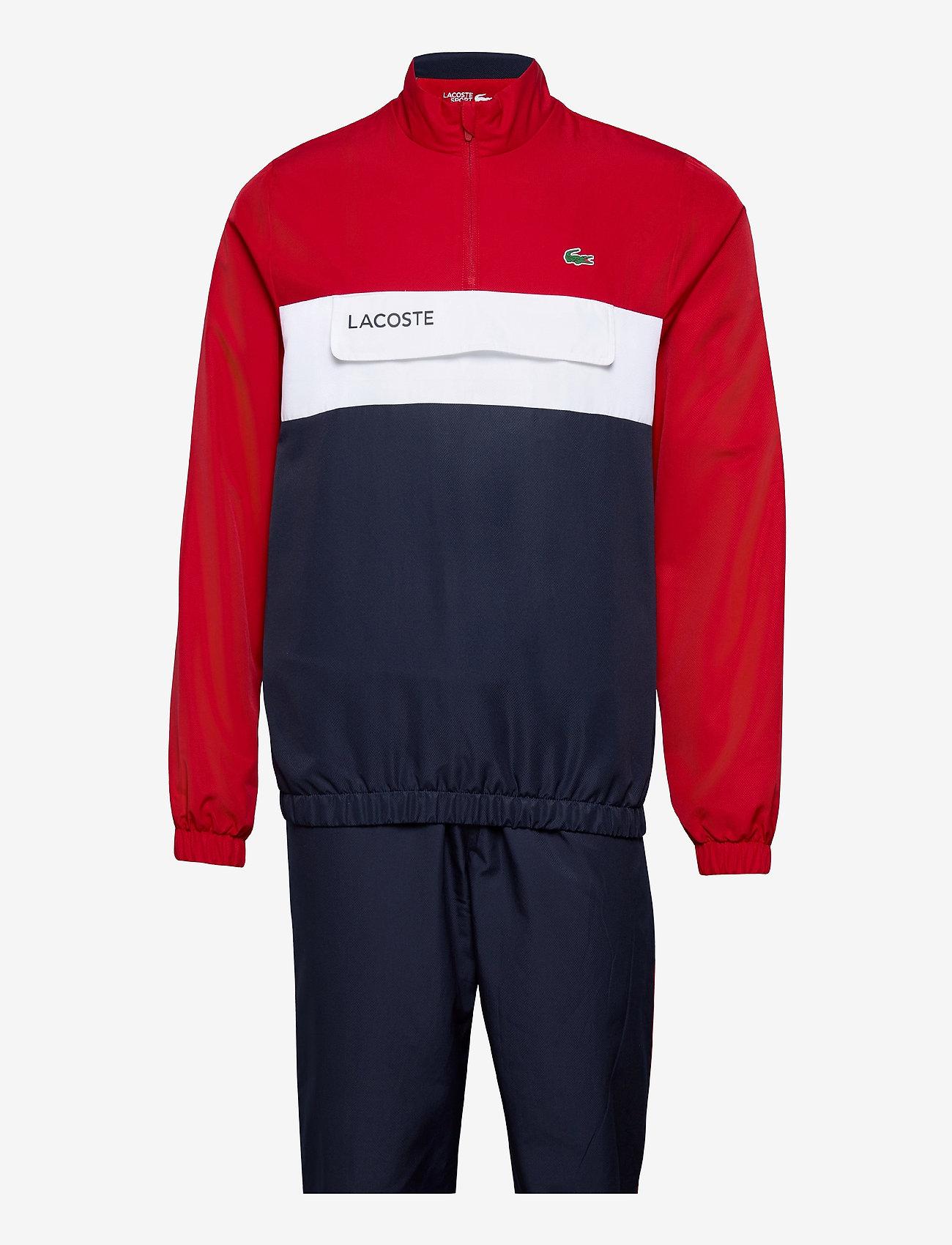 Lacoste - Men s tracksuit - dresy - ruby/navy blue-white - 0