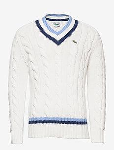 Men s sweater - basic knitwear - flour/scille-nattier blue 07e