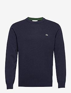 Men s sweater - basic strik - navy blue