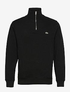 Men s sweatshirt - truien met halve rits - black