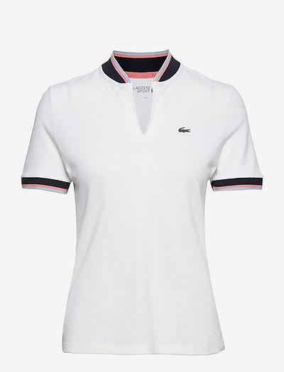 Womens S/S polo - poloskjorter - white/navy blue-elf pink-creek