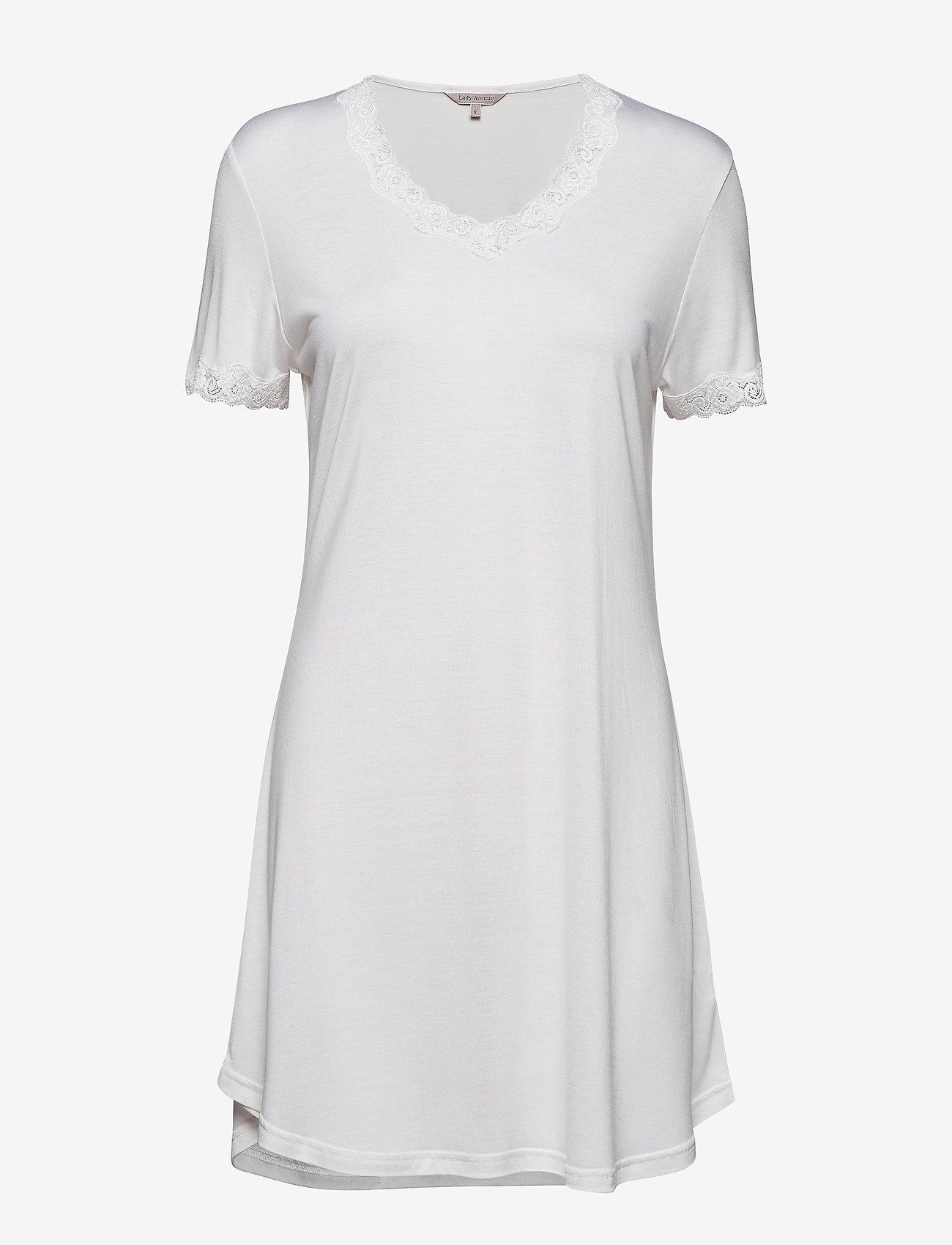 Lady Avenue - Silk Jersey - Nightgown w.sleeve - nachtjurken - off-white - 1