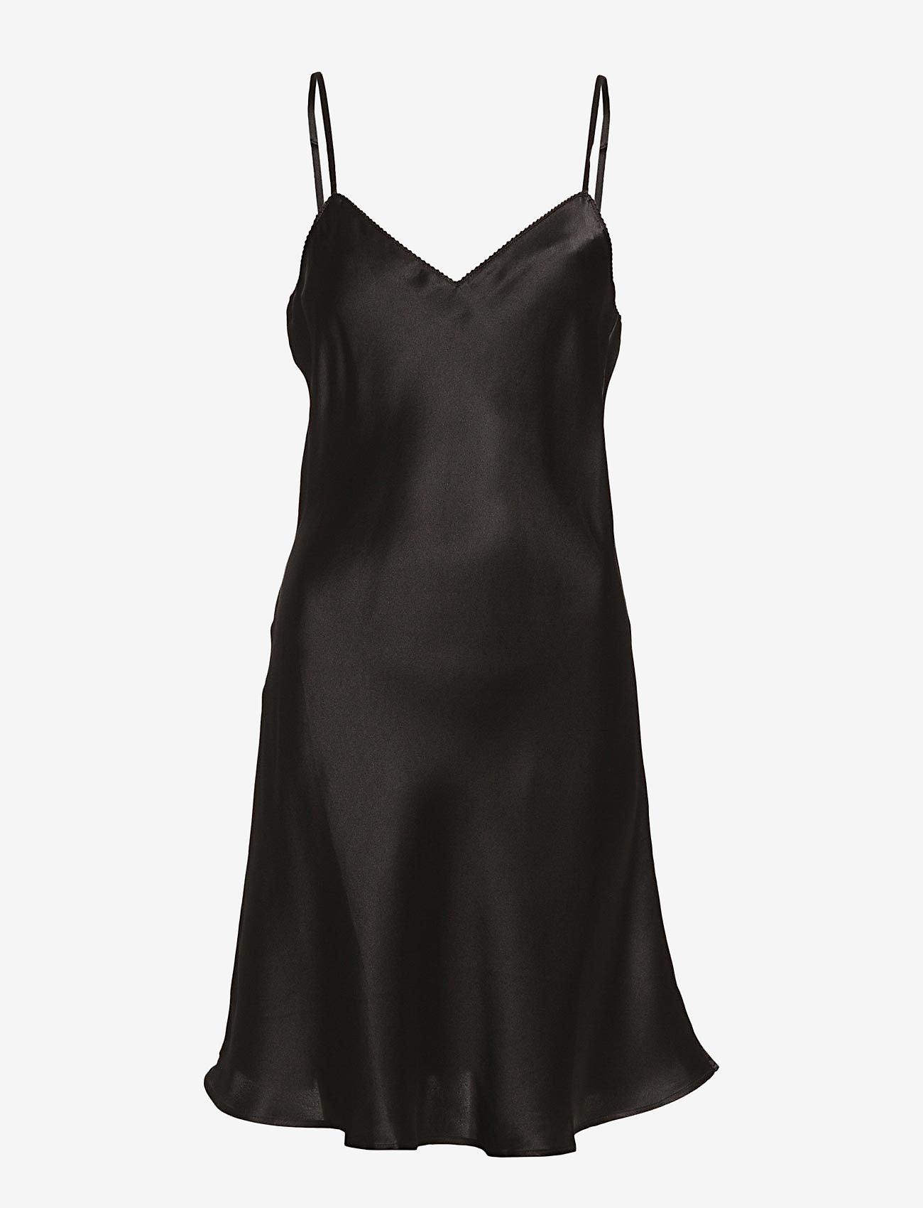 Lady Avenue - Pure Silk - Slip w.cording - nightdresses - black - 1